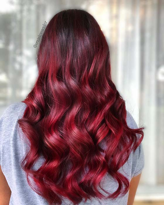 Long Red Hair with Dark Roots