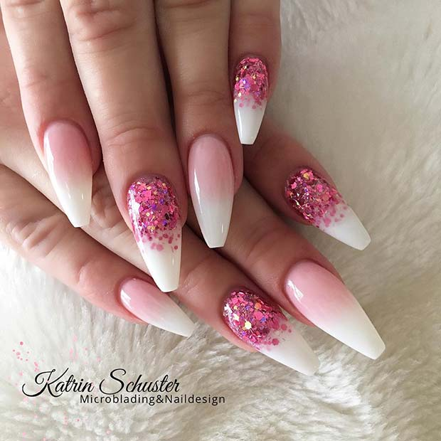 Glitter Pink and White Ombre Nails