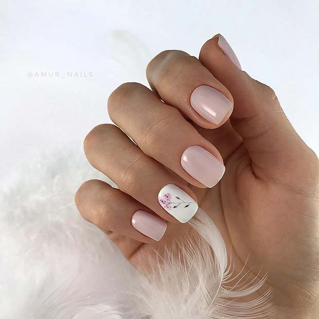 Pink Nails with Flower Accent Nail