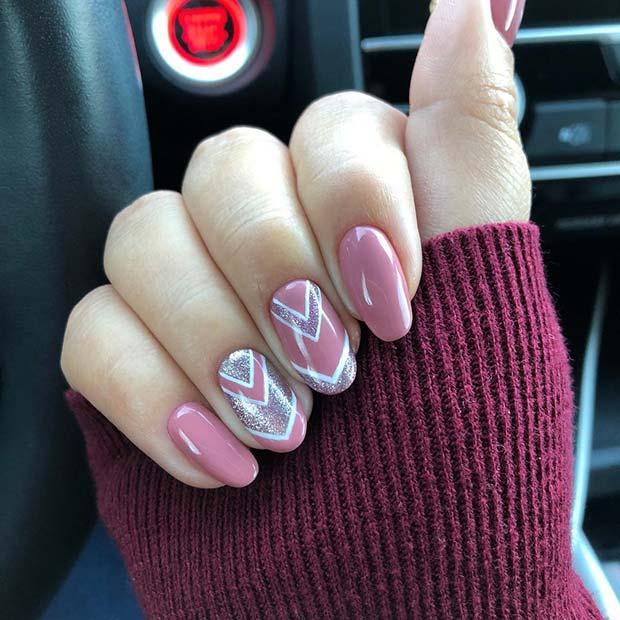 Pink, White and Glitter Chevron Nail Design