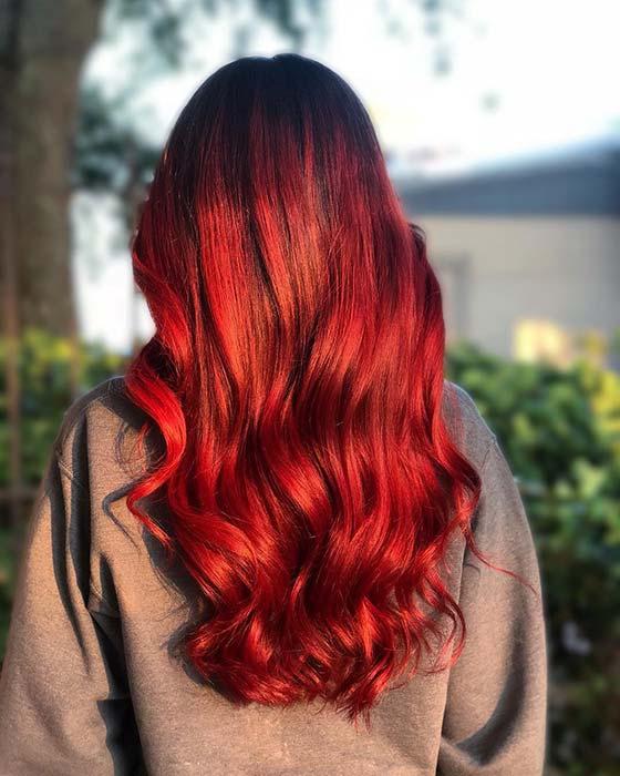 Scarlet Red Hair Color Idea
