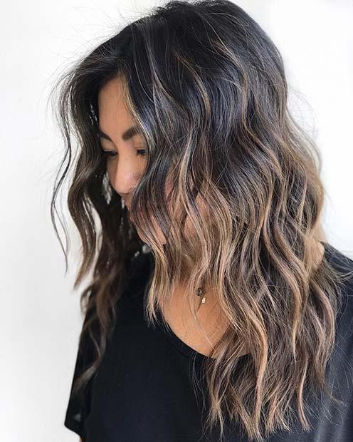 Subtle Blonde Highlights for Black Hair
