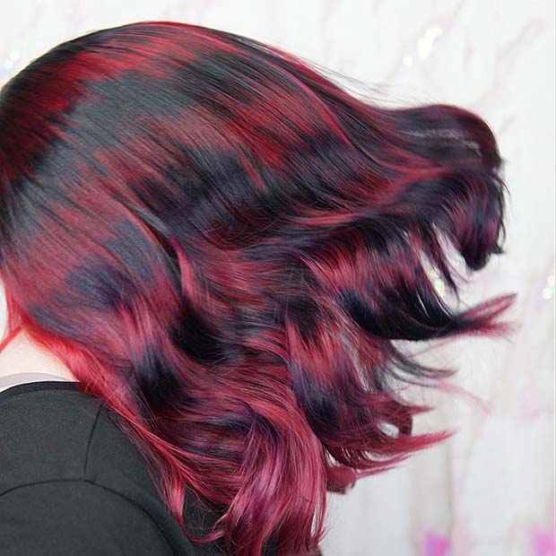 Unique Black and Red Hair