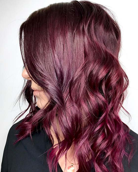 Shiny Burgundy Waves