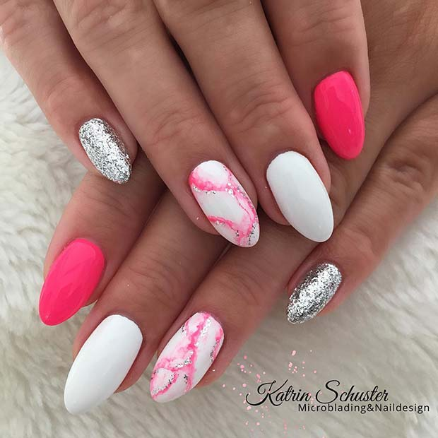 Trendy Pink Marble Nails