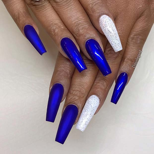 Blue and Silver Long Coffin Nails