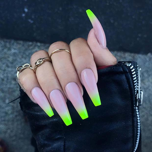Long Coffin Nails with Neon Tips