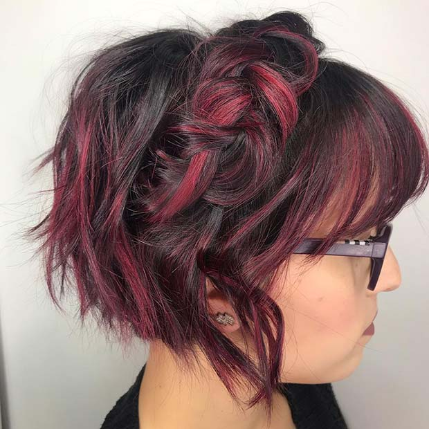 Crown Braid on a Bob with Bangs