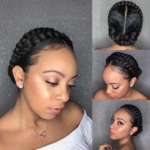 Double Halo Braid Style on Natural Hair