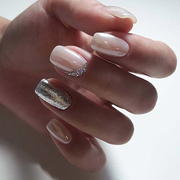 White Nail Polish And Silver Glitter Nails