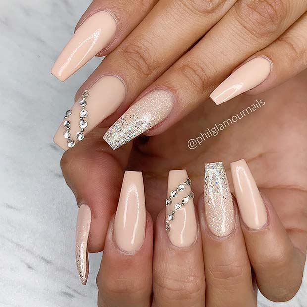 Nude Acrylic Nails with Glitter and Rhinestones