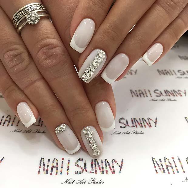 Glitzy, Wedding Acrylic Nails