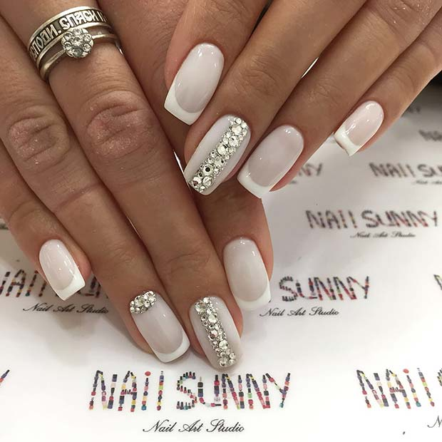 Glitzy, Wedding Acrylic Nails