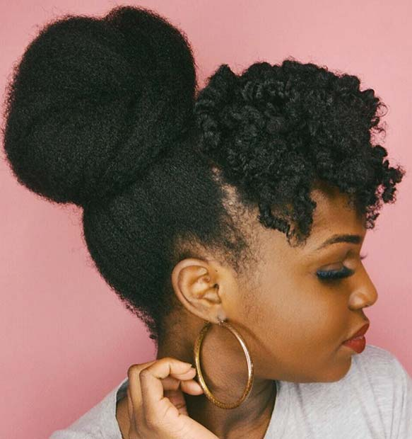 Natural High Bun and Curled Fringe