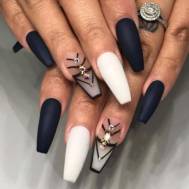 Matte Black and White Nail Design for Coffin Nails