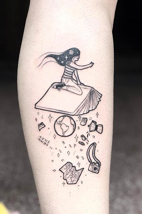 A Girl Flying on a Book Tattoo Design