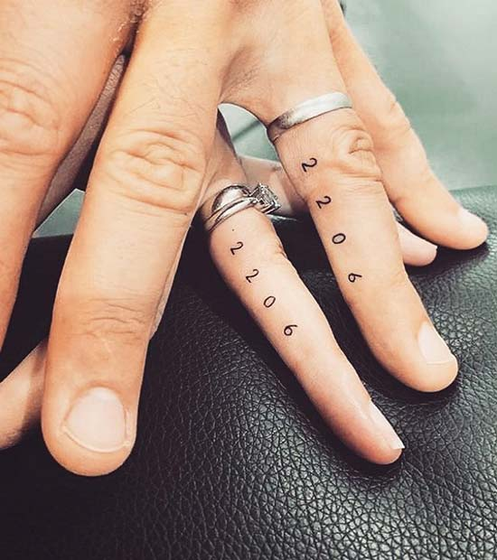 Anniversary Date Tattoos for Couples
