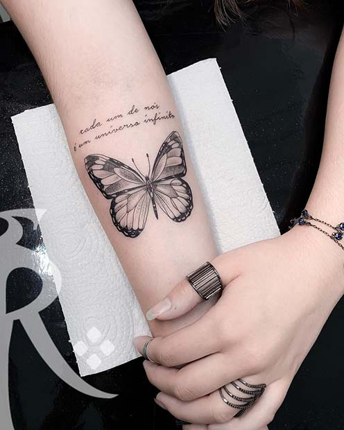 Quote and Butterfly Tattoo Idea