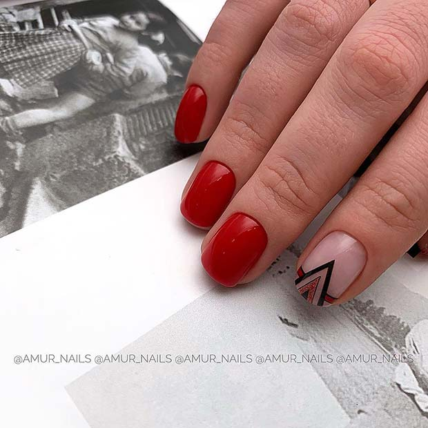 Red Nails with Triangle Accent Nail