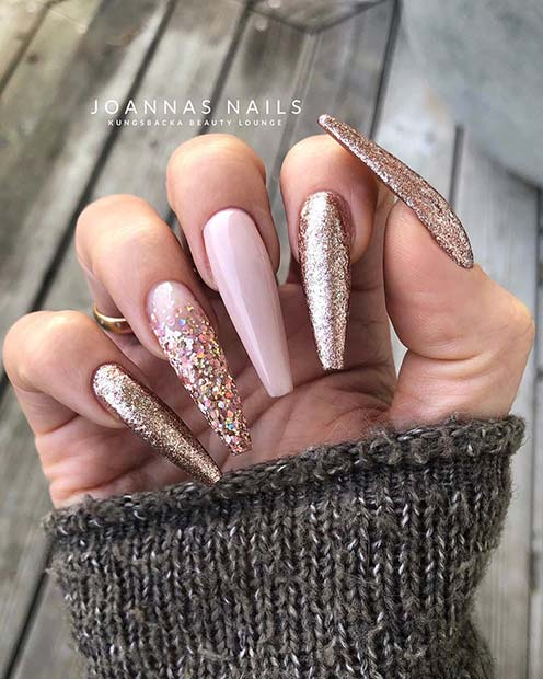 White And Gold Coffin Nails : white, coffin, nails, Designs, Salon, StayGlam