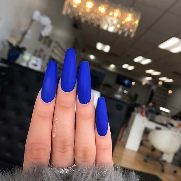 1. Bold Matte Blue Nails