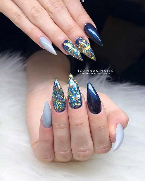 13. Glittery Stiletto Nails