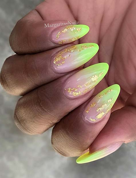 Neon Ombre and Gold Nails