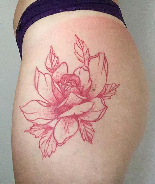 Gorgeous Red Lotus Tattoo Idea