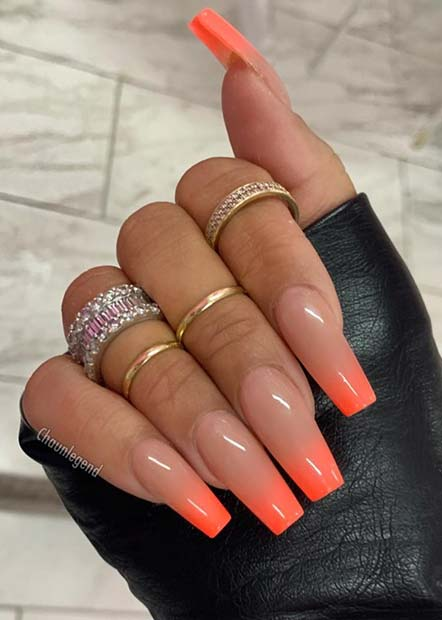 Neon Orange and Nude Ombre Nails