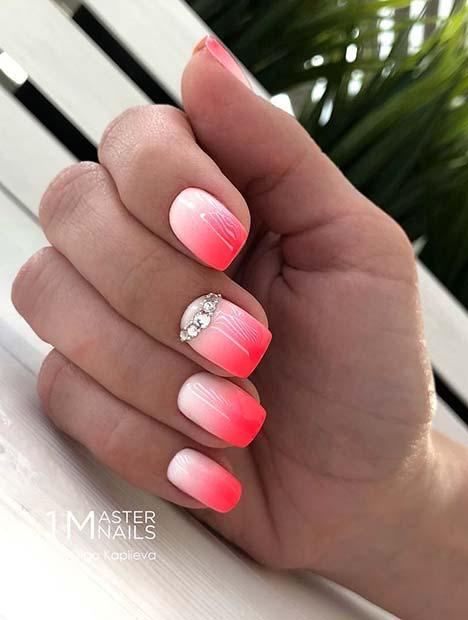 Elegant Pink Ombre Nails