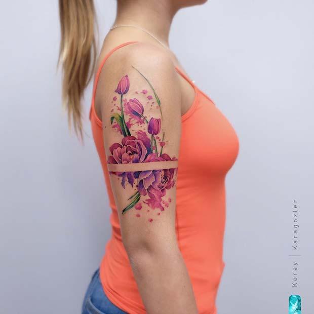 Cool Floral Arm Tattoo