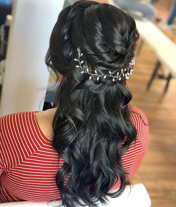 Curly Half Updo with Sparkly Accessory