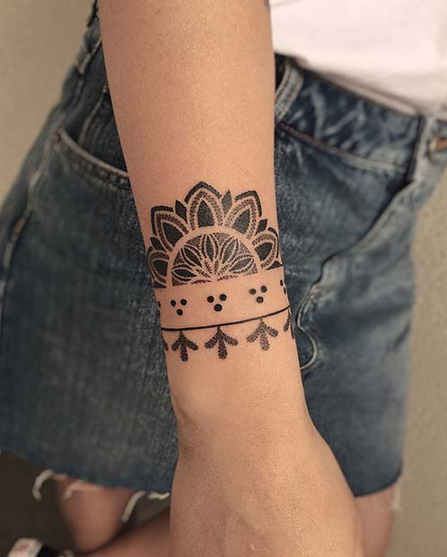 Cute Bracelet Tattoo with a Half Mandala