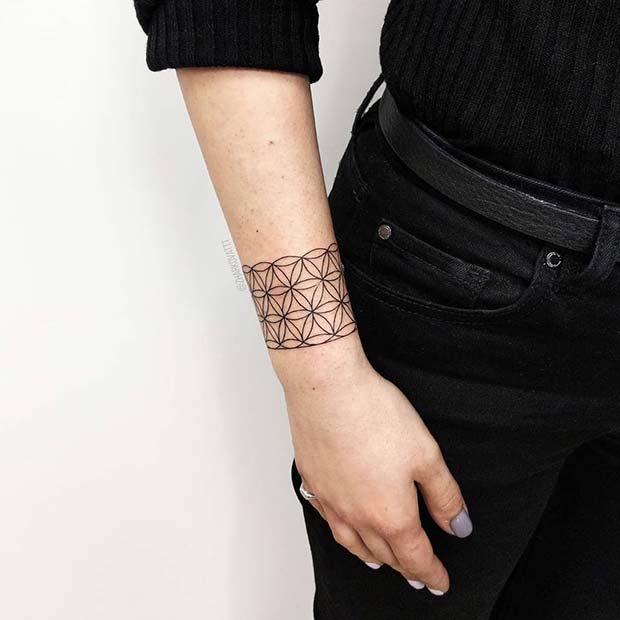 Geometric Chunky Bracelet Tattoo