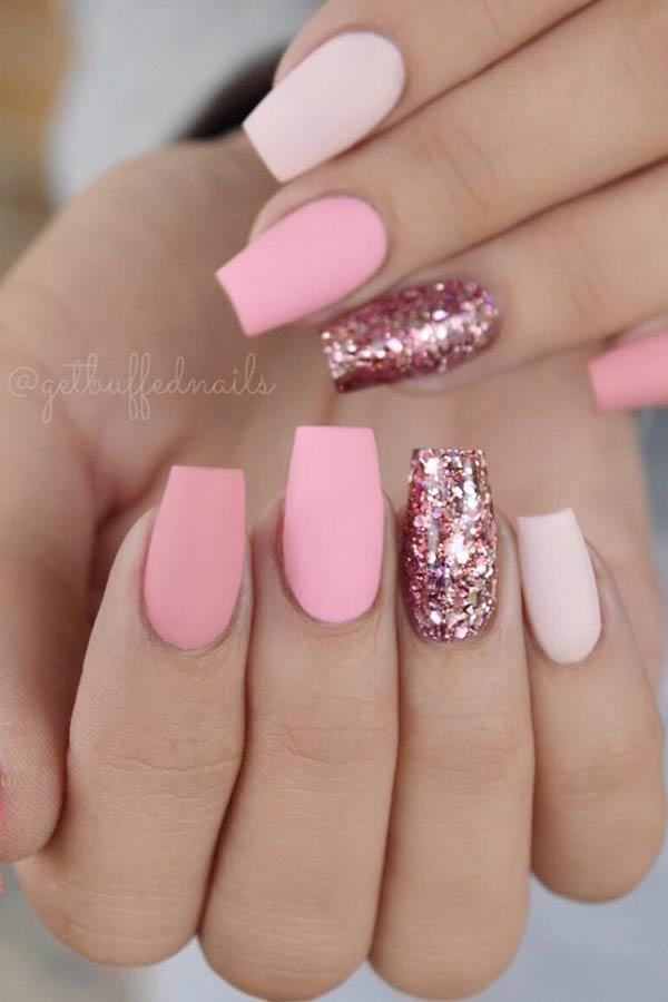Matte Light Pink Nail Art Design