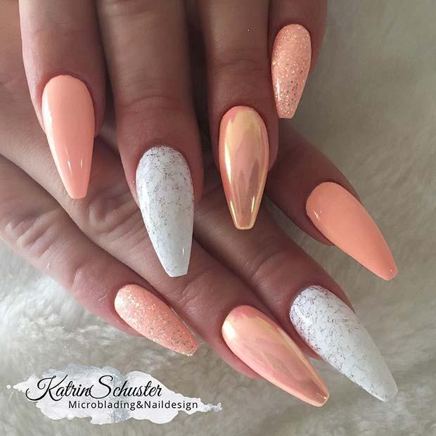 Peach Nail Design for Summer