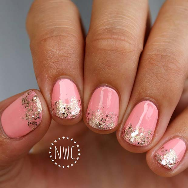 Pink and Glitter Tips Nail Design