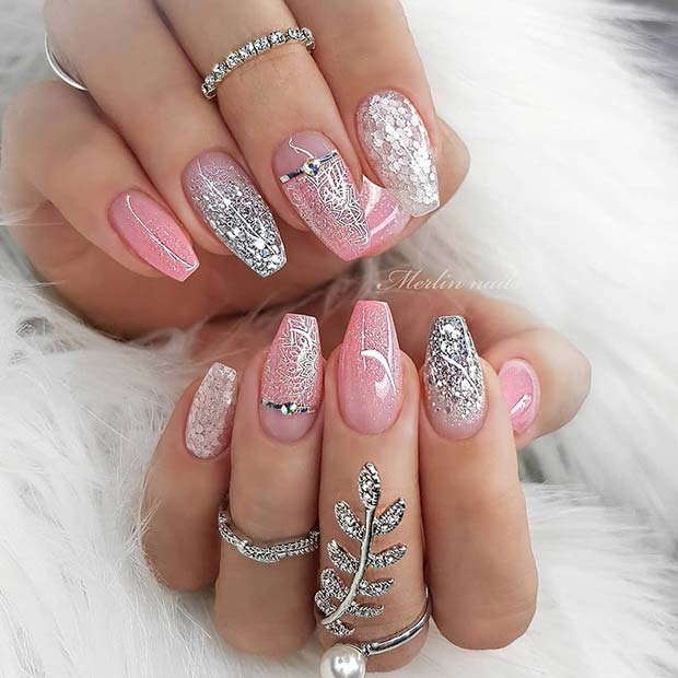 Sparkly Pink and Silver Nail Design