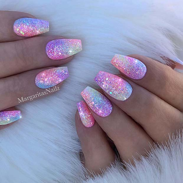 Sparkly Short Coffin Nails