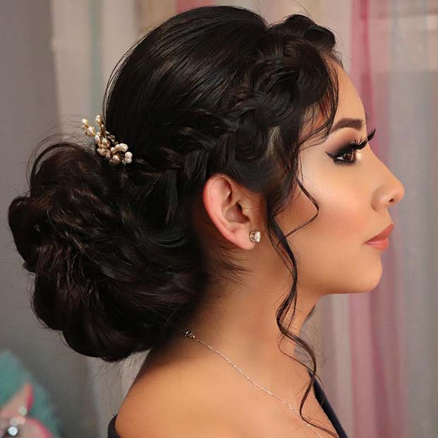 Stunning Updo with a Side Braid