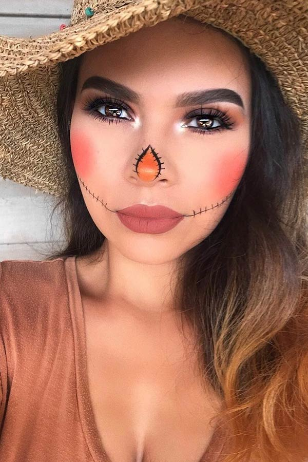 Easy Scarecrow Face Paint : scarecrow, paint, Scarecrow, Makeup, Ideas, Halloween, StayGlam