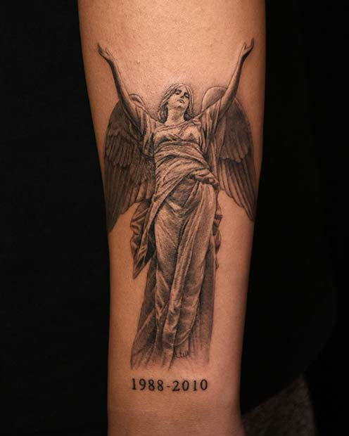 Memory Angel Tattoos : memory, angel, tattoos, Emotional, Memorial, Tattoos, Honor, Loved, StayGlam