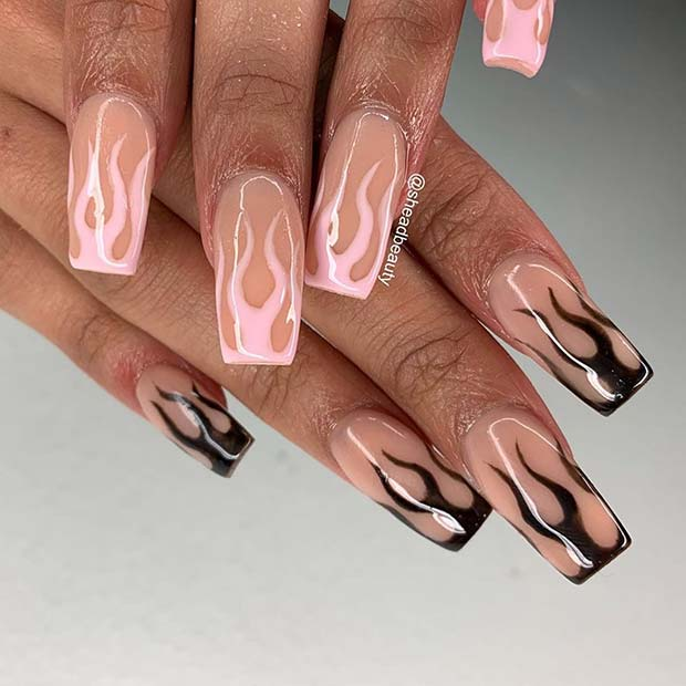 Pink and Black Flames