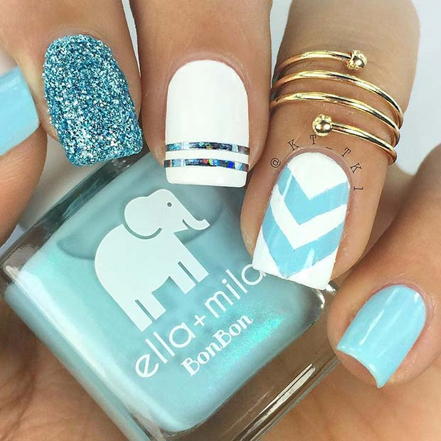 Pretty Pastel Blue Nails