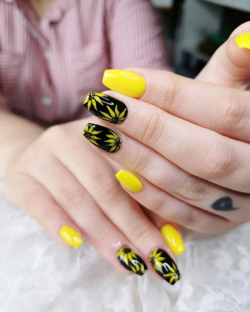 Nails With Sunflowers : nails, sunflowers, Sunflower, Nails, Everyone, Jealous, StayGlam