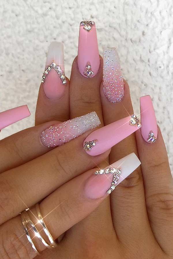 Light Pink and White Coffin Nails