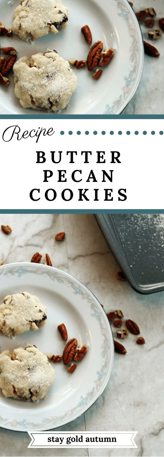 Butter pecan cookies with 5 easy ingredients you probably already have. Perfect baked or as cookie dough because there are no eggs! | Stay gold Autumn