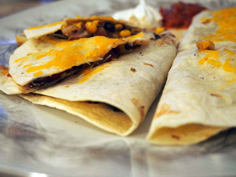 grilled sweet and spicy rib meat quesadillas