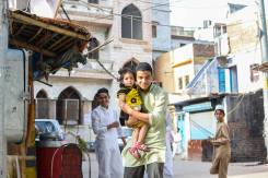 Indian brother and sister in Old Delhi, India