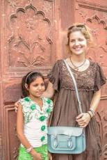 Anna with an Indian girl, Red Fort, Delhi, India